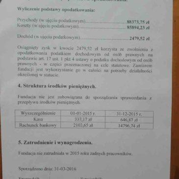 Sprawozdanie z działalności za 2015 rok